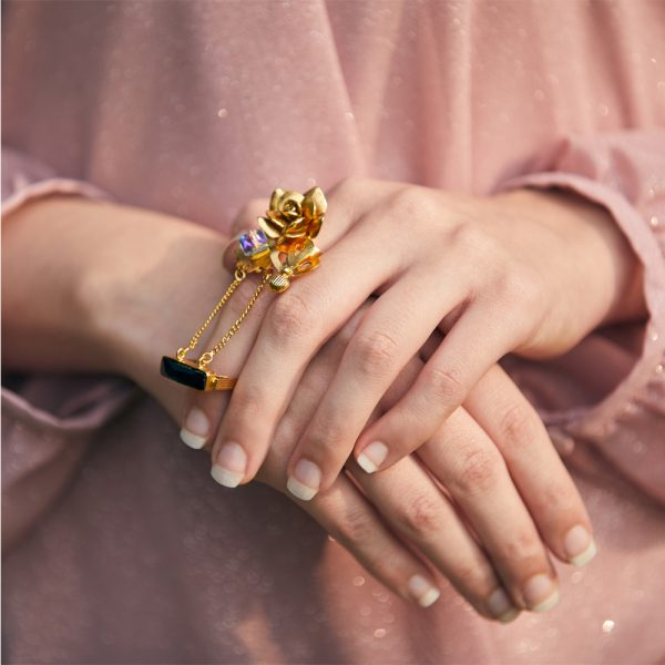 Fanas Jewellery Wine and Roses Ring with Jet Swarovski Voyage Women Jewellery Gold Plated Pakistan Lahore fine jewellery