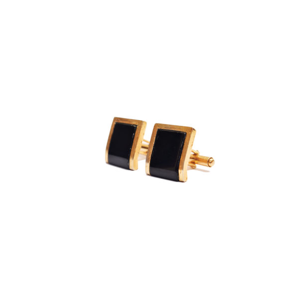Fanas Jewellery Black square cufflinks Voyage Men Jewellery Gold Plated Pakistan Lahore fine jewellery