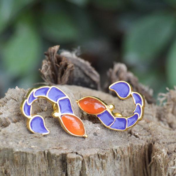 Fanas jewellery Scorpio Earrings zodiac collection Women Gold plating fine jewllery Fashion Pakistan Lahore