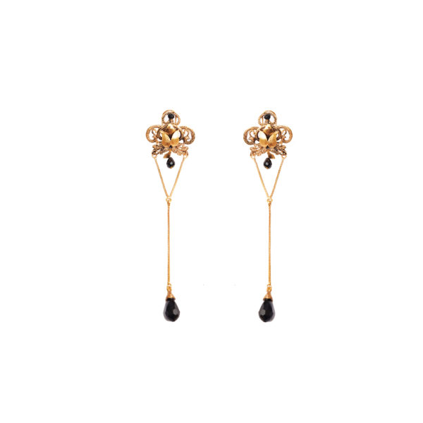 Fanas Black Bead Earrings Allure of the Ages Women Jewellery Gold