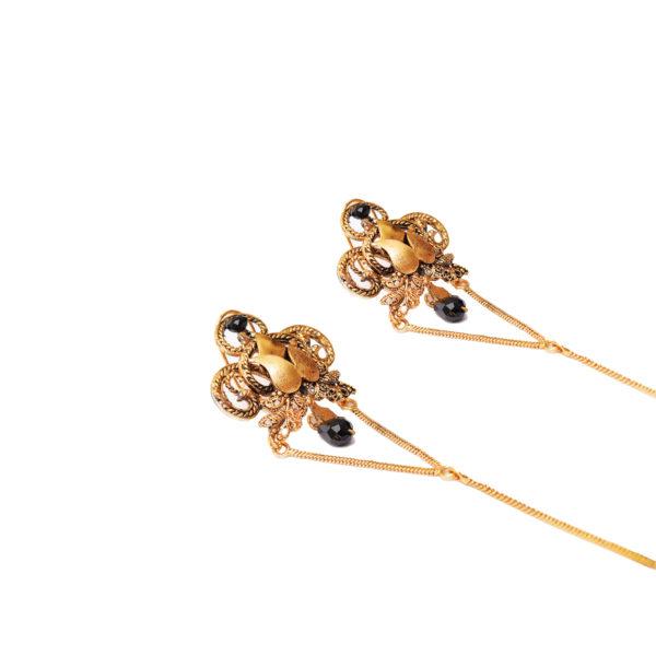 Fanas Black Bead Earrings Allure of the Ages Women Jewellery Gold