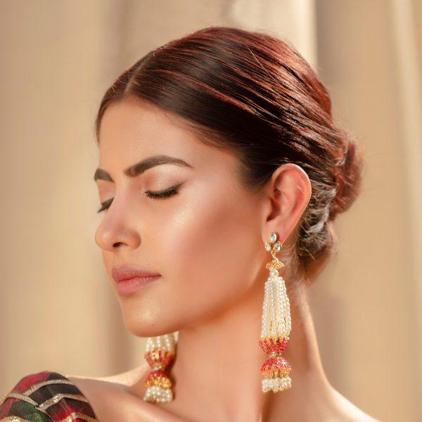 Fanas Nur Jahan Earrings with Pearl and Ru Askari Women Jewellery Gold earrings