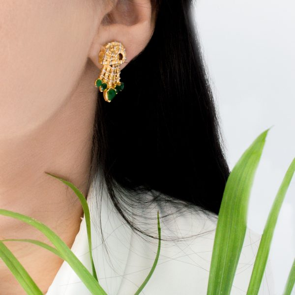 Fanas Gold Dust Earrings with Emeralds Bamboo Cutter Women Jewellery 22kt gold plating fashion Pakistan