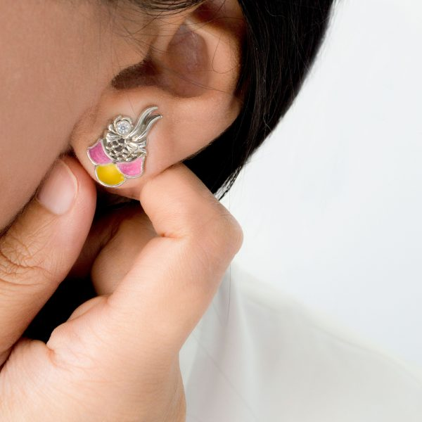Fanas White Ocean Earrings with Zircons Bamboo Cutter Women Jewellery Rhodium Zircons earrings fashion