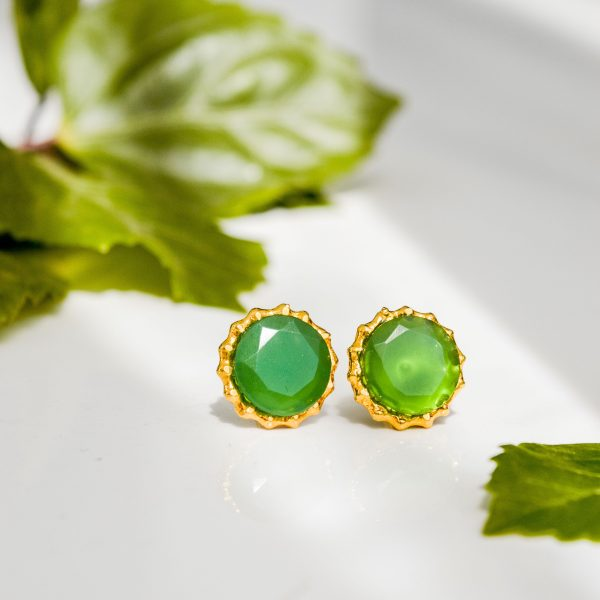 Fanas Emerald Studs Bamboo Cutter Women Jewellery 22kt gold plating fashion