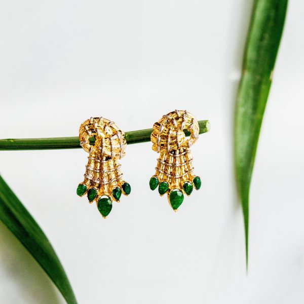 Fanas Gold Dust Earrings with Emeralds Bamboo Cutter Women Jewellery 22kt gold plating fashion Pakistan