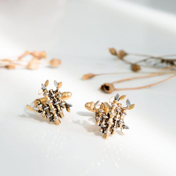 Fanas Gold Plated Bamboo Cufflinks Bamboo Cutter Men Man Jewellery 22kt gold plating fashion