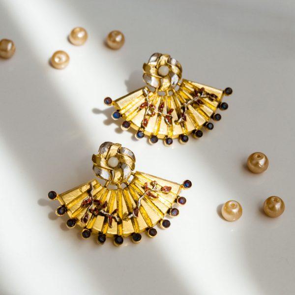 Fanas Cherry Blossom Fan Earrings with Sapphire Bamboo Cutter Women Jewellery 22kt gold plating fashion Pakistan