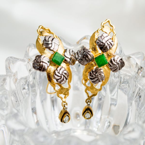 Fanas Dreamy Earrings with Zircons Bamboo Cutter Women Jewellery 22kt gold plating fashion