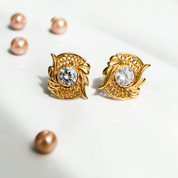 Fanas Earrings Encrusted with Zircons Bamboo Cutter Women Jewellery 22kt gold plating fashion