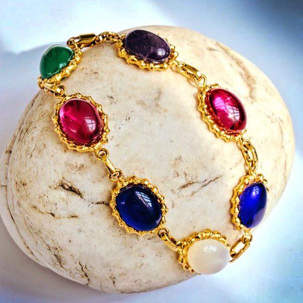 Fanas Bracelet Encrusted with Stones Ru and Zircons Bamboo Cutter Women Jewellery Ru Zircons bracelet 22kt gold plating fashion