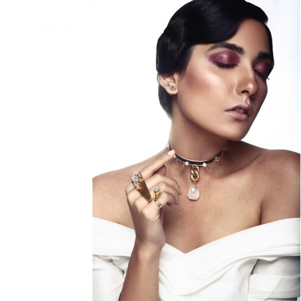 Fanas Jewellery Falling Stone Choker with Swarovski Cubes Voyage Women Jewellery Gold Plated Pakistan Lahore fine jewellery