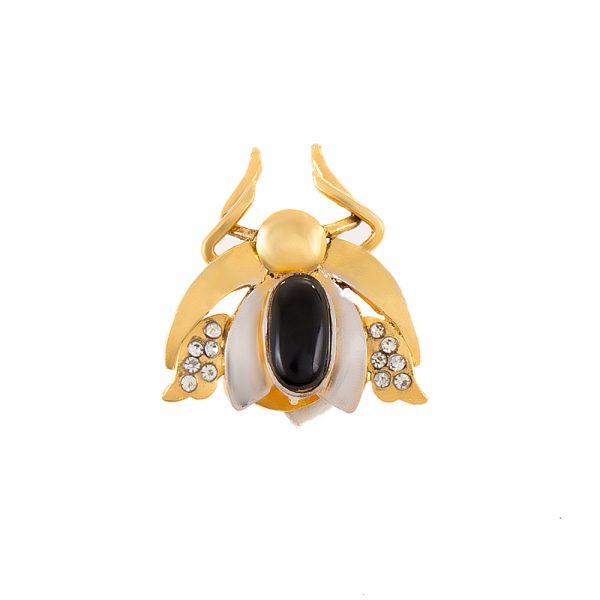 Fanas jewellery Beetle Button with Zircon crossover collection Women Gold plating zircon onyx Fashion Pakistan Lahore