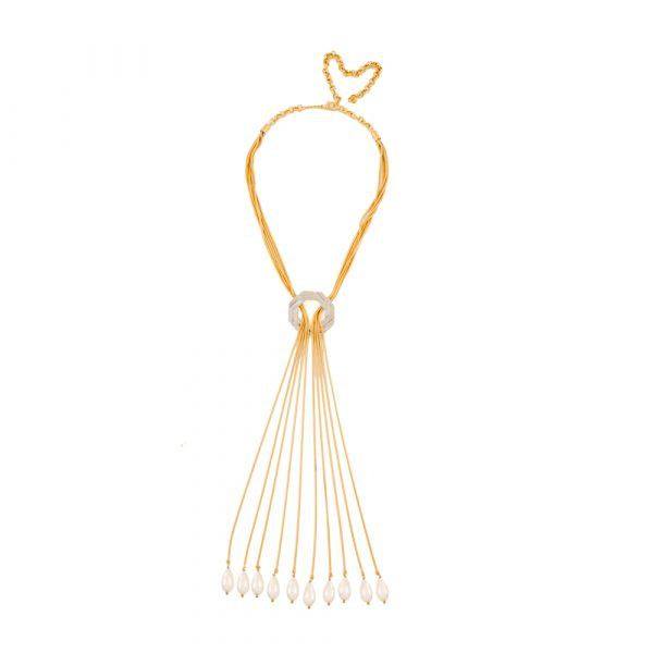 Fanas Jewellery Gold Plated Tassel Cutlass Pendant crossover collection Women Gold plating pearl Fashion Pakistan Lahore