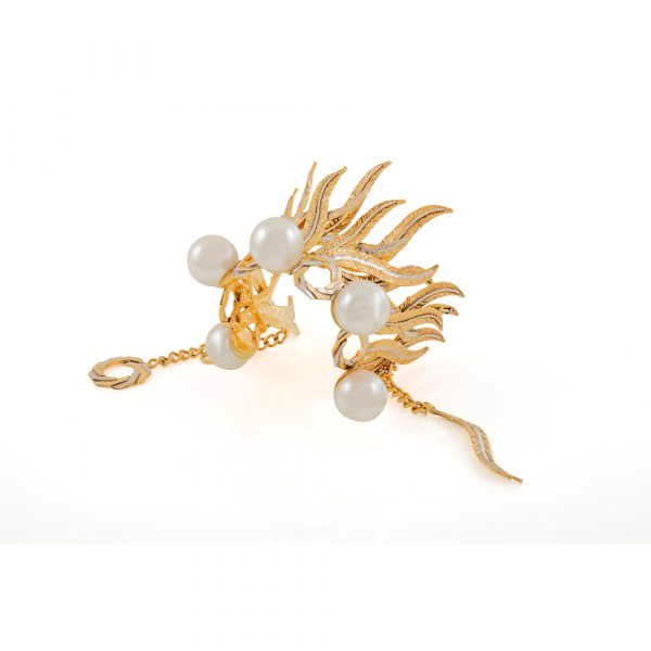 Fanas jewellery Gold Plated Goddess Cuff with Pearl crossover collection Women Gold plating pearl Fashion Pakistan Lahore