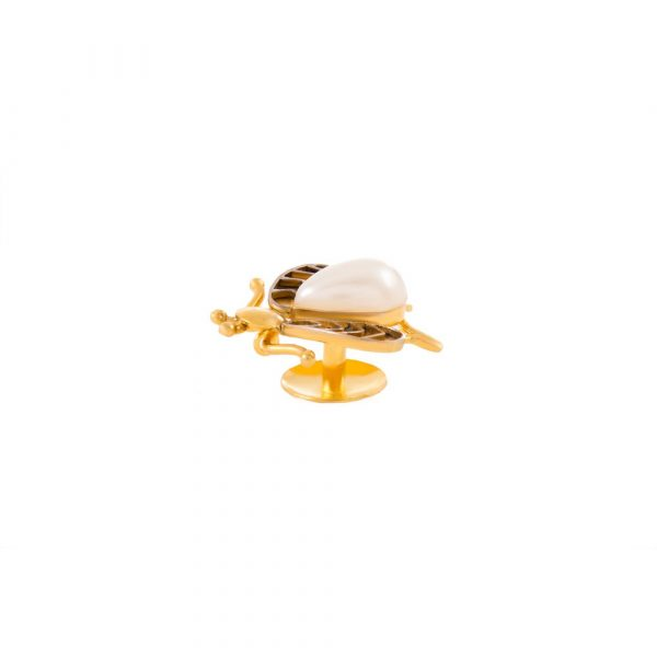 Fanas Jewellery Gold Plated Beetle Button with Pearl crossover collection Women Gold plating pearl Fashion Pakistan Lahore