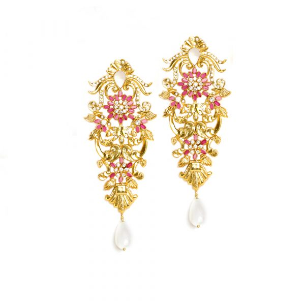 Fanas jewellery 22 KT Gold plated earrings with pearl and zircons wedding collection Women Gold plating fine jewllery Fashion Pakistan Lahore