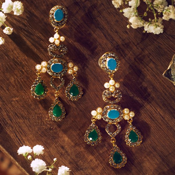 Fanas jewellery Bespoke Earrings with Feroza, Pearls and Emerald wedding collection Women Gold plating fine jewllery Fashion Pakistan Lahore