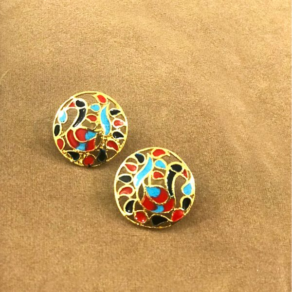 Fanas jewellery Dancing Peacock Ear Studs wedding collection Women fine jewllery Fashion Pakistan Lahore